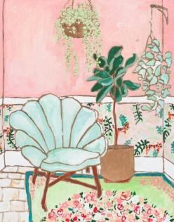 Mint Green Velvet Art Deco Shell Chair in Warm Pink Interior
