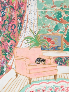 Pink Floral Interior with Napping Cat