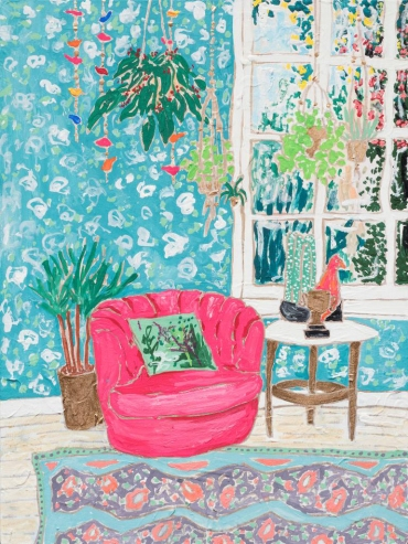Pink Tub Chair in Plant Filled Interior Hideaway