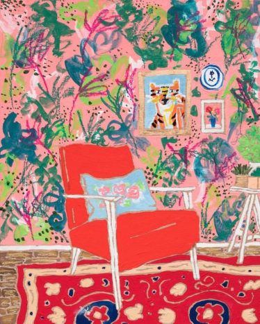Portrait of a Red Mid-Century Chair In Pink Jungle Print Interior with Persian Rug