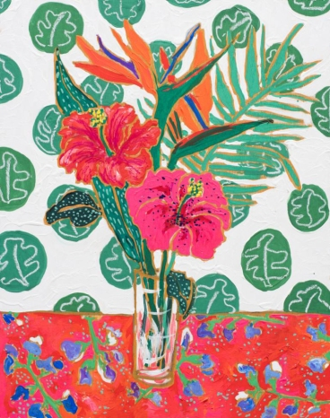 Flowers in Vase with Matisse Inspired Wallpaper