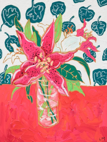 Tropical Pink and White Lilies in Glass