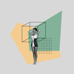Woman in swimsuit surrounded by geometric elements.