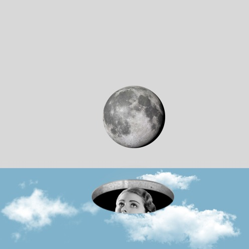 Woman hiding into a hole that is observing the moon over her.