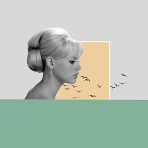 Profile portrait of a woman surrounded by geometric elements and birds.