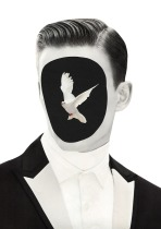 Faceless male portrait with a bird coming out from his face.