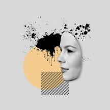 Profile woman portrait over a geometric background.