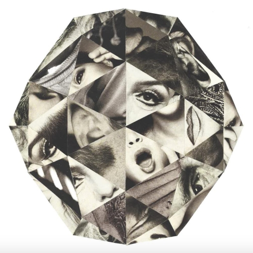 Diamond shaped abstract collage.