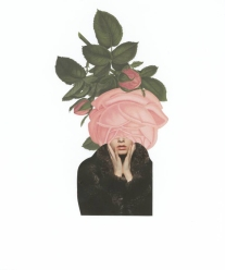 Faceless woman portrait covered by a giant rose.