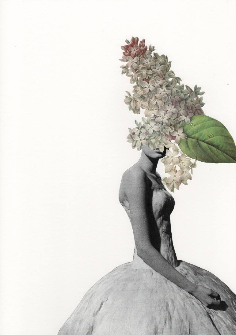 Female fashion portrait with the face covered by flowers.
