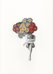 Full body female fashion portrait with the face covered by flowers.
