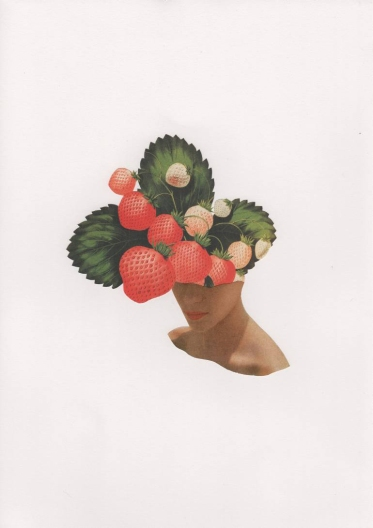 Female fashion shot with the face covered with strawberries.