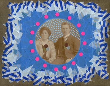 Altered vintage couple portrait.