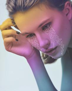 Woman portrait with illustrated tears.