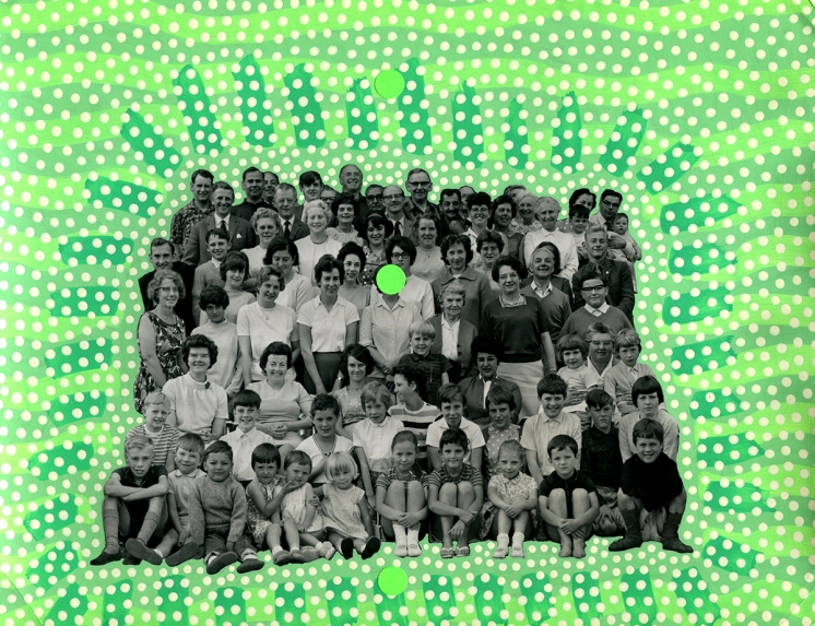 Altered vintage group photo.