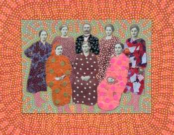 Vintage group photo manipulated with pens and mixed media materials.