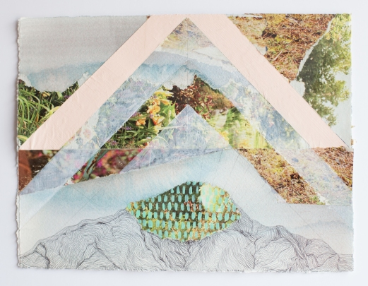 Mixed media collages of abstract landscapes.