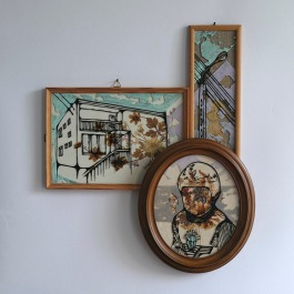 Composition of 3 framed pieces put together.