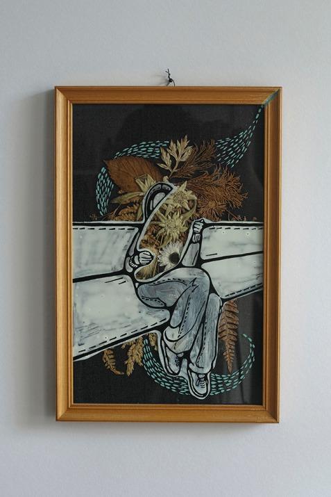 Illustration done over a dry flower framed composition.