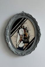 Illustration done over an oval dry flower framed composition.