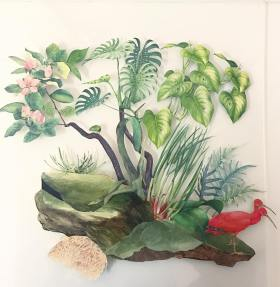 Paper collage composition of natural elements and animals.