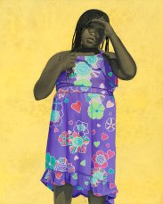 Portrait of a young woman over a purple dress over a yellow background.
