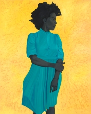 Portrait of a woman with a turquoise dress over a yellow background.