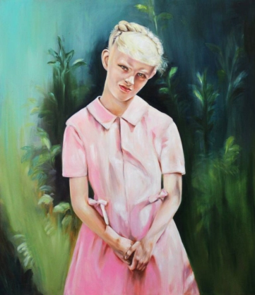 Portrait of a girl with a pink dress.
