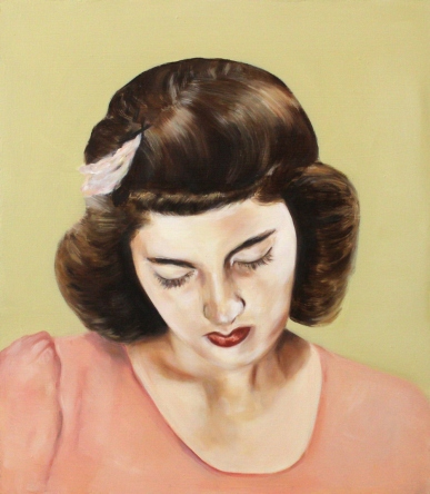 Portrait of a woman with a salmon pink dress.