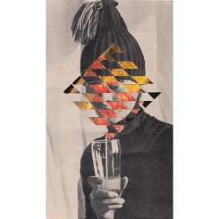 Woman drinking portrait with the face covered by a geometric pattern.