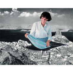 Giant woman cleaning a sheet inside a lake.