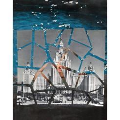 Portrait of a cityscape puzzled over a woman portrait.