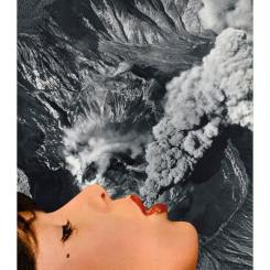 Portrait of a profile woman portrait over an aerial volcano photo.