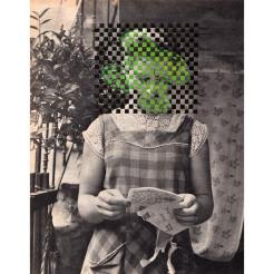 Woman portrait with the face covered by a geometric pattern.