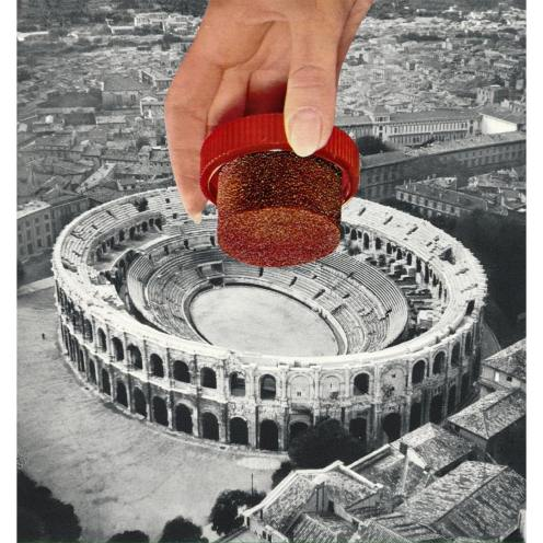 Giant hand handling a cork over a colosseum picture.