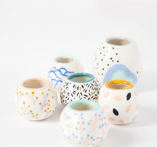 Still life photo of a group of ceramic vases.