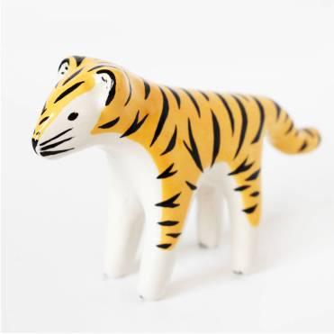 Still life photo of a ceramic tiger.