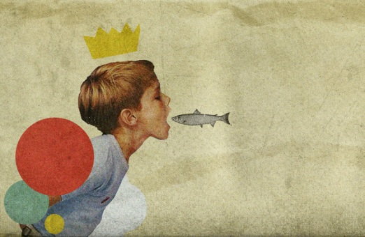 Kid with the open mouth and a fish jumping inside it.
