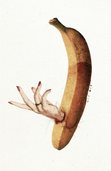 Female hand coming out from a banana.
