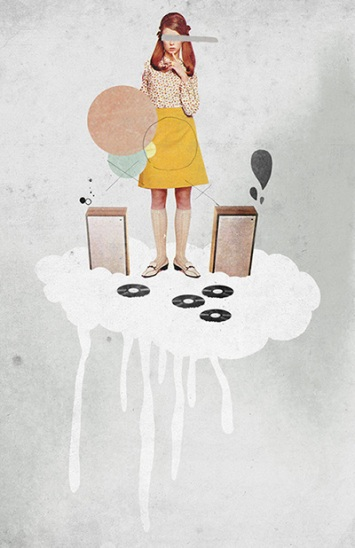 Woman listening vinyls over a cloud.