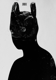 Collage of a portrait with the head covered with a plastic bag.