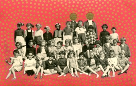 Altered vintage photo of a group of children.