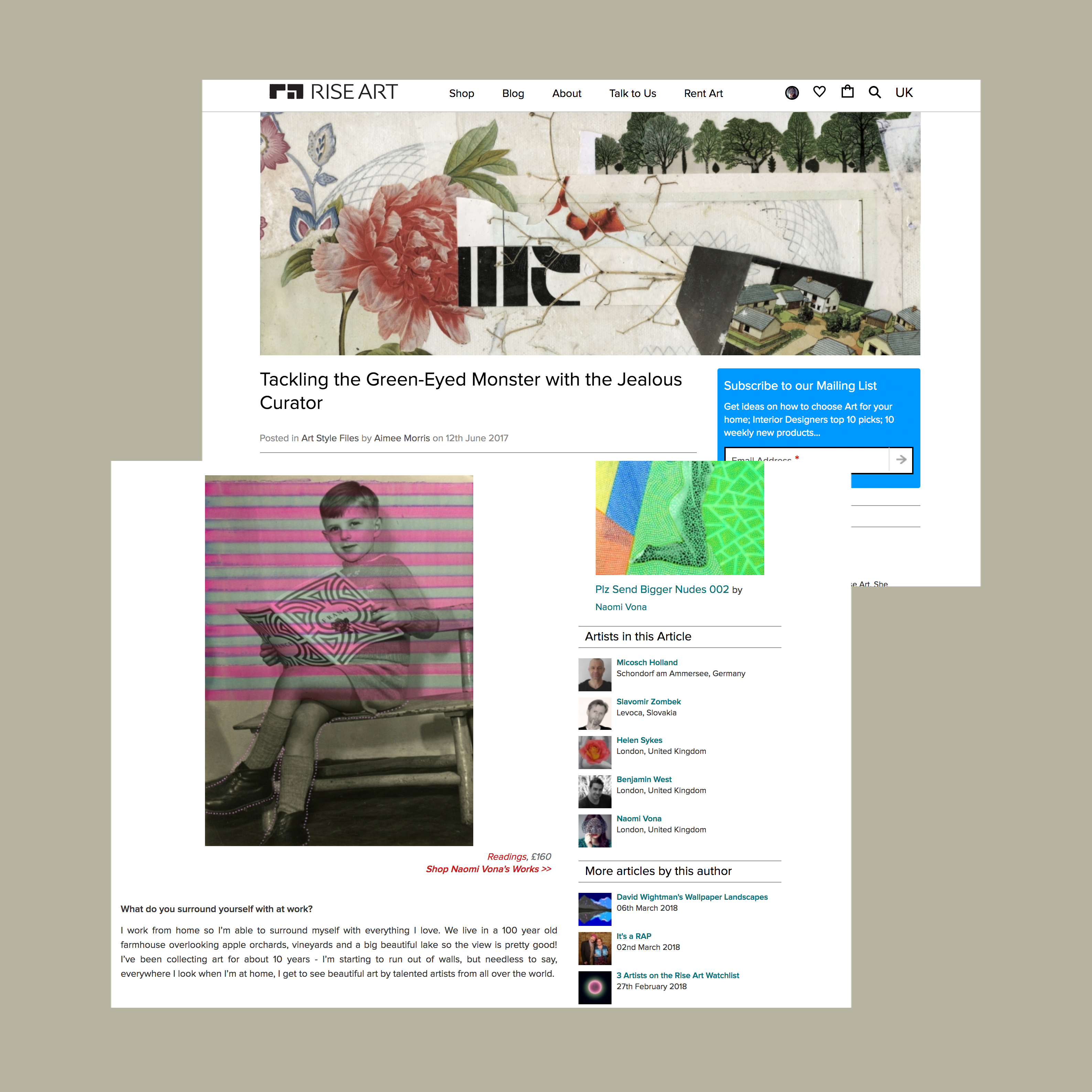 Screenshot of a blog page.