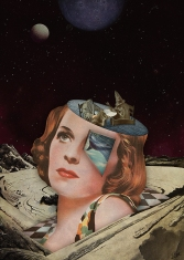 Half cut woman head with a surreal galaxy background.