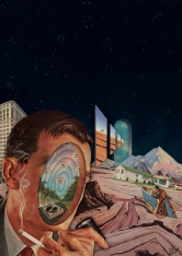 Faceless man surrounded by a surreal galaxy background.