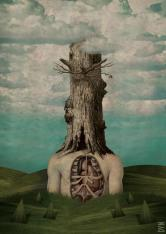 Giant faceless body with a tree over the head.