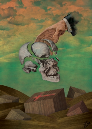 Giant male head touching a fragmented skull floating in the air.