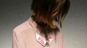 Embroidered brown, pink an white necklace.