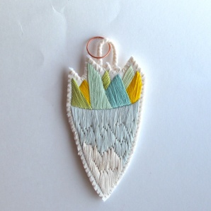Yellow, green and white embroidered pendant necklace.