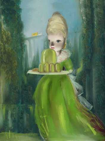 portrait of a woman dressed in green bringing a green sweet on a plate.